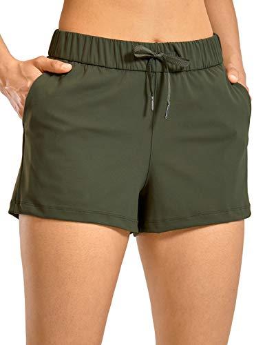 CRZ YOGA Donna Pantaloncini Relaxed Fit Sportivi Shorts da Corsa con Tasche-6cm Verde Oliva 38