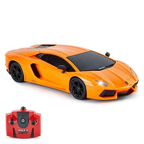 CMJ RC Cars-Cars Lamborghini Aventador Remoto Oficial Luces de Trabajo, Radio Control en Carretera RC Coche 1:24, 27 MHz, Color Naranja, Grandes Juguetes niñas, (LP700-4)