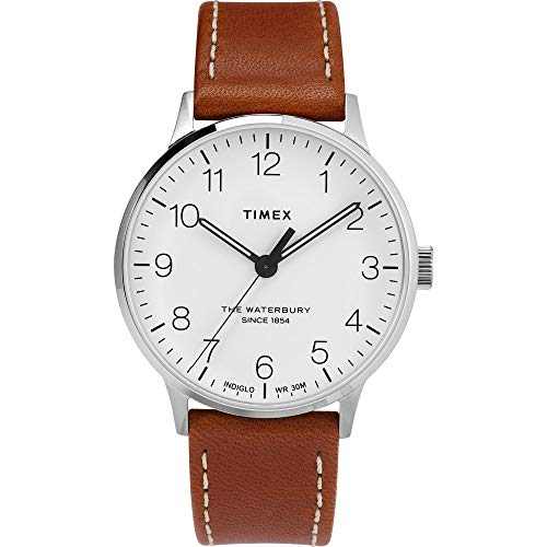 Timex Herren Analoger Quarz Uhr mit Echtes Leder Armband TW2T27500