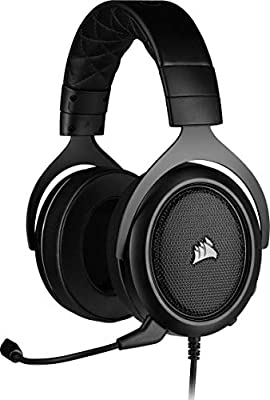 Corsair HS50 PRO Stereo Gaming Headset (Adjustable Memory Foam Ear Cups, Lightweight, Noise-Cancelling Detachable Microphone with PC, PS4, Xbox One, Switch and Mobile Compatibility) - Black by Corsair