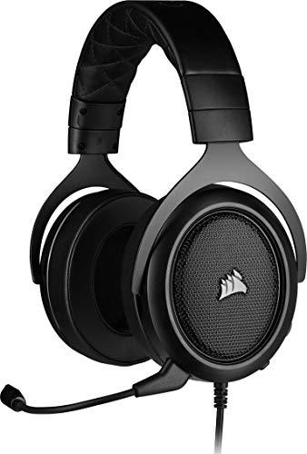 Corsair HS50 Pro Stereo Gaming Headset (Anpassbare Memory-Schaumstoff Ohrmuscheln, Federleichtes Design, Abnehmbares Rauschunterdrückung-Mikrofon, für PC, Xbox One, PS4, Switch und Mobilgeräte) carbon