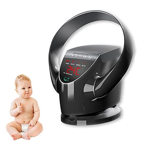 YSJX Ventilador sin aspas,Ventilador de Pared,Ventilador de Mesa de 8 velocidades,Ventilador de Mesa/Ventilador de Escritorio oscilante,con Temporizador,Control Remoto,Pantalla LED (Color : Black)