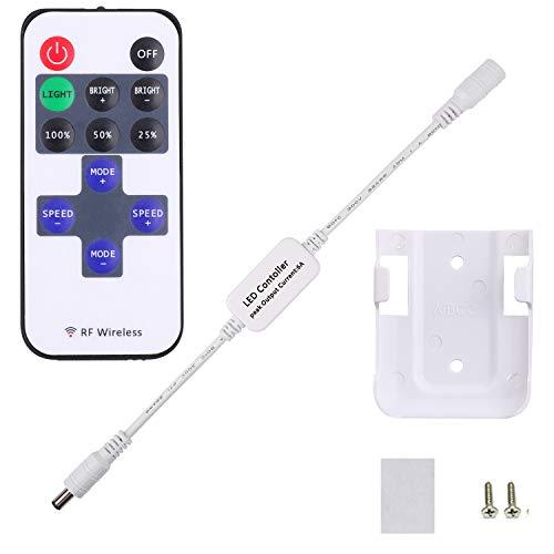 Mini-Fernbedienung für einfarbige AIBOO LED Unterschrankbeleuchtung, RF Dimmer für 12 V DC LED, kabellose Fernbedienung für dimmbare 3528 5050 Unterschrank-Lichter (1 zu mehreren Steuerungen)