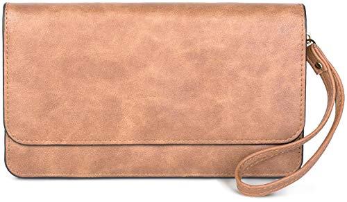 styleBREAKER Damen Clutch mit Überschlag und Trageschlaufe, Abendtasche, Portemonnaie 02012259, Farbe:Hellbraun