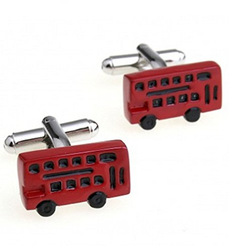 Gudeke Red Bus Cufflinks rouge Autobus Boutons de manchette