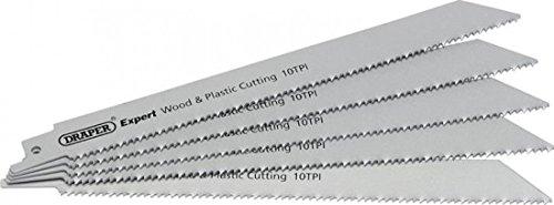 Draper Expert Lot de 5 lames de scie pour bois et plastique, 10tpi bi-métal, 02304