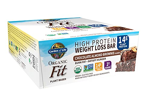 High Protein Bars for Weight Loss - Garden of Life Organic Fit Bar - Chocolate Almond Brownie (12 per Carton) - Burn Fat, Satisfy Hunger and Fight Cravings, Low Sugar Plant Protein Bar with Fiber