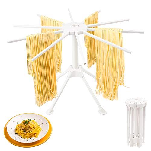LOVEXIU Stendipasta,Stendino Pieghevole per Pasta Fresca con 10 Bracci,Noodles Pieghevoli Stendino Pieghevole per Pasta,Facile da Riporre, Veloce da Montare per Pasta Fresca Come Spaghetti (Bianca)