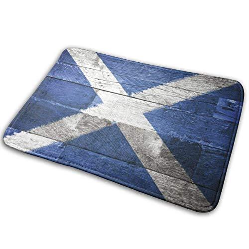 Liuqy Teppich Türmatte außerhalb, Innentürmatte Vordertürmatte rutschfeste Fußmatten Blaue Schottische Schottland-Flagge auf altem Holz Saltire Scottland Distressed 40x60cm