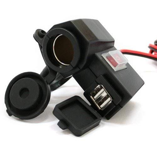 HaiMa Hbx4 Moto Allume-Cigare Double Chargeur USB-Noir