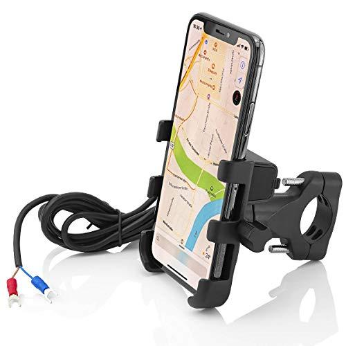 MidGard Supporto per Manubrio Universale per Bici/Moto per Telefono Cellulare, Smartphone, navigatore satellitare ECC. con Porta USB