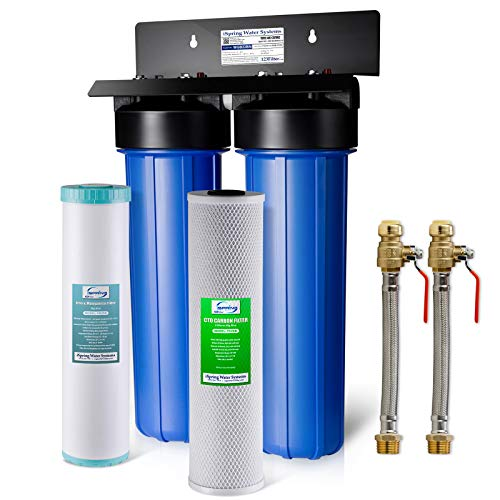 "iSpring WGB22BM+AHPF12MNPT16X2 2-Stage Whole House Water Filtration System with 20"" x 4.5"" Big Blue Carbon Block and Iron & Manganese Reducing Filters and 3/4"" Push-fit Stainless Steel Hose Connectors"