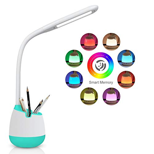 Lampada da scrivania a LED Bambini,3 Livelli di Luminosità,Lampada da Scrivania dimmerabile Touch Control con luce Notturna Colorata,porta di ricarica USB (Verde)