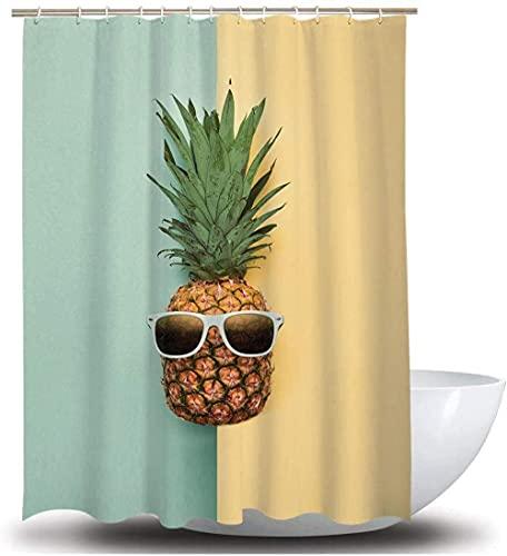 Ananas Gelbgrün Duschvorhang Textil, wasserdicht geeignet für Dusche & Bad,Anti-Schimmel Duschvorhang 180X180CM