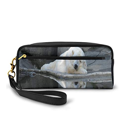 Pencil Case Pen Bag Pouch Stationary,Sleeping Cute Polar Bear at The Zoo with Water Reflection Peaceful Calm Nature,Small Makeup Bag Coin Purse