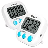 Uigos 2 Pack Digital Kitchen Timer II 2.0 , Big Digits, Loud Alarm, Magnetic Backing, Stand, for Cooking Baking Sports Games Office (White) (2 Pack)