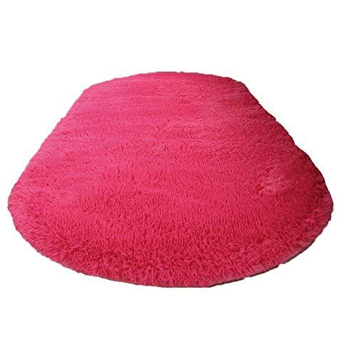 Simpatici Tappeti Ovali per Soggiorno Tavolini da Salotto Coperte da Comodino in Camera da Letto (Disponibili in Vari Colori e Dimensioni), W-R, Rosa rossa,