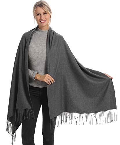 Women Pashmina Scarf Wrap Shawl, Grey Gray Cashmere Soft Wool, Travel Blanket Accessories, Evening Wedding Party, Mom in Law Female Hoste Grandma Best Friend Sister Wife Girlfriend Christmas Good Gift