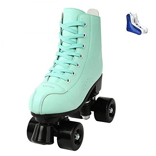 Roller Skates for Women Cozy Green PU Leather High-top Roller Skates for Beginner, Indoor Outdoor Double-Row Roller Skates with Shoes Bag