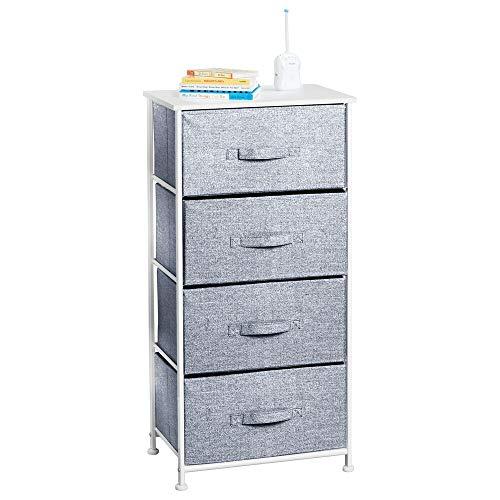 mDesign Cómoda para dormitorio de diseño texturizado con 4 cajones – Práctico mueble cajonera con balda de madera MDF para dormitorio o pasillo – Cajonera de metal y tela – blanco y azul