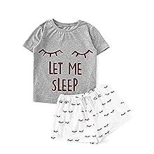 Loalirando - Pijama para mujer o niña, verano, conjunto de 2 piezas, camiseta de manga corta + pantalones cortos estampados con dibujos animados, Gris ojo, S