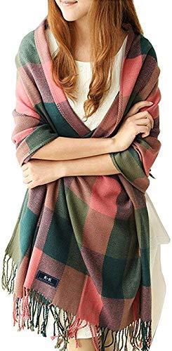 Fashion Base Langer, weicher, warmer Schal mit Schottenkaro, für Damen, aus Wolle, spinnende Quaste, Stola Gr. Large, pink/grün