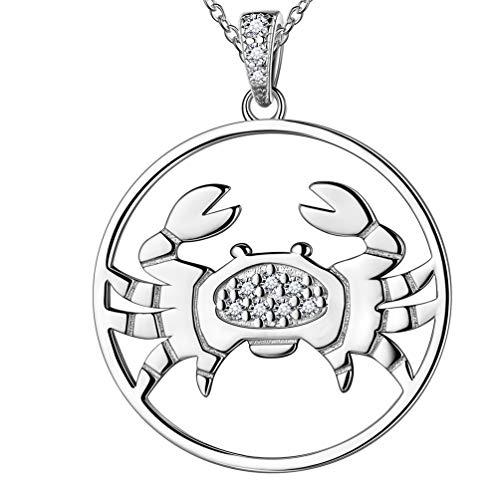 Jewmon Damen 925 Sterling Silber 12 Sternbild Horoskop Sternzeichen Anhänger Halskette, Perlen Anhänger Halskette Geburtstagsgeschenk mit Box FP0092X