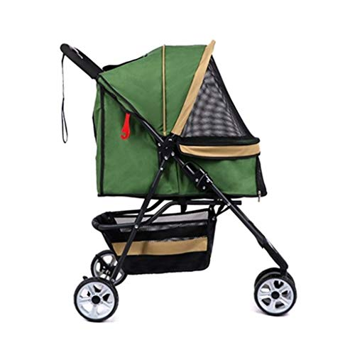 MZP Hondenwagen Pet Stroller Dieren kar Pet Roadster - Luxe kinderwagen voor pups, senioren, honden of katten, eenvoudig inklapbare driewieler Travel Pet Jogger Max. belasting 15 kg groen