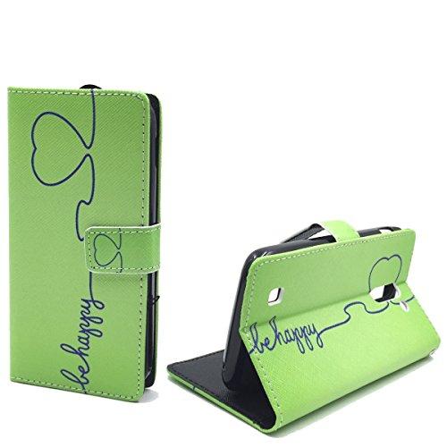 König Design Handyhülle Kompatibel mit Archos 50c Neon Handytasche Schutzhülle Tasche Flip Case mit Kreditkartenfächern - Be Happy Design Grün