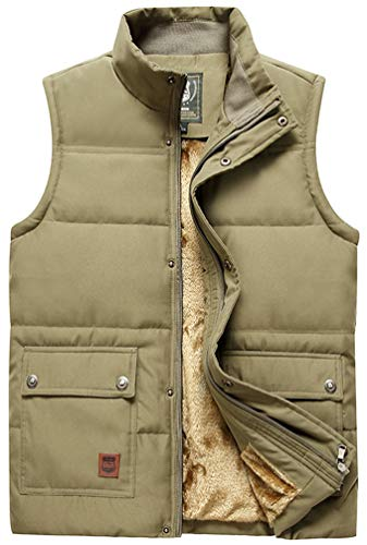 Vcansion Men's Outdoor Casual Stand Collar Thicken Qulited Fleece Jacket Vest Padded Vest Lightweight Down Cotton Vest Coat Khaki US L