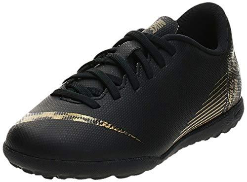 Nike Unisex-Kinder VaporX XII Club TF Fußballschuhe, Schwarz (Black/MTLC Vivid Gold 077), 38 EU