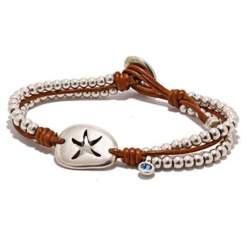 Lederarmband und Sternperle, mit einem Swarovski-Charme, handgefertigt von Intendenciajewels - Lederarmband - Swarovski Armband - Leder und Perlenarmband - Zamak...