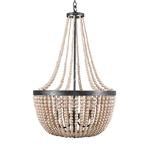 DOCHEER Wood Bead Chandelier Pendant Lamp Ceiling Light Fixtures 4-Light Wooden Beaded Chandeliers for Kitchen Island, Dining Room, Living Room, Bedroom