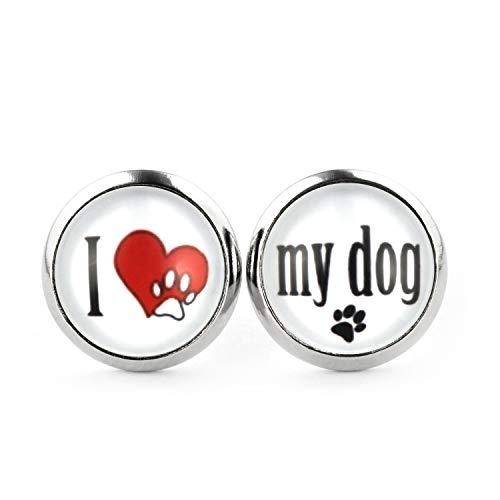 SCHMUCKZUCKER Damen Mädchen Ohrringe Motiv I love my dog - my cat Edelstahl Ohrstecker Hund Katze Silber Weiß I love my Dog 12mm