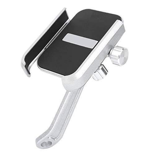 Tomanbery Abrazadera de Montaje para teléfono de Motocicleta Soporte de teléfono de Manillar Ajustable de aleación de Aluminio Adecuado para Scooter eléctrico para la mayoría de Las(Silver)