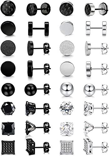 Milacolato 16 Pares Pendientes de Botón Negros de Acero Inoxidable Pendientes de Botón Ziconia Cúbicos Plateados Conjuntos Pendientes de Túnel Pendientes de Bola Para Mujeres Hombres