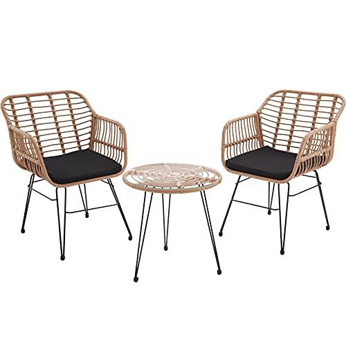 TecTake 800802 Rattan Sitzgruppe für 2 Personen, 3-TLG. Bistroset, Balkonset mit 2 Stühlen + Tisch, kleine Lounge für Garten Balkon Terrasse, inkl. Sitzkissen - Diverse Farben - (Natur | Nr. 403558)