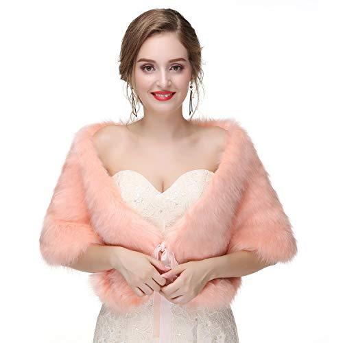 BeiQianE Frauen Faux Fur Brautkleid Wrap Schal Stola Shrug mit Band Schnürsenkel für Hochzeit 1920er Jahre Party (Hell orange)