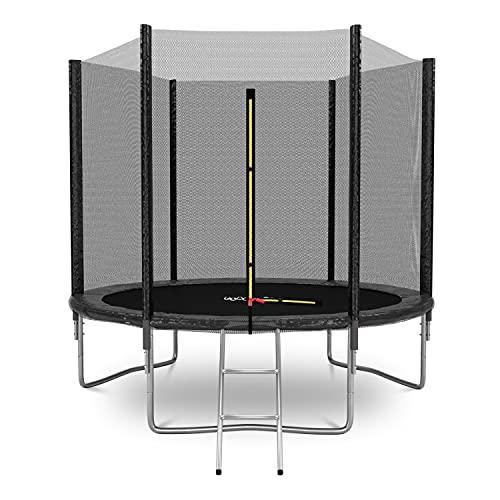 Cama elástica de jardín Deluxe 8FT ø244 cm negro – con red de seguridad, alfombra de salto, cojín de protección, escalera