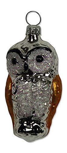 Lauschaer Glas Eule Silber/Kupfer Christbaumschmuck mundgeblasen,handdekoriert Original