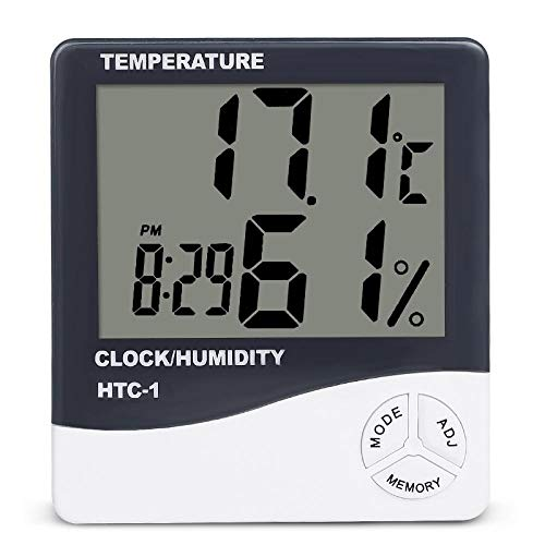 FPRW Elektronische klok met LCD-display voor binnen, temperatuur- en vochtigheidsmeter, digitale thermometer, hygrometer, weerstation, wekker voor thuis