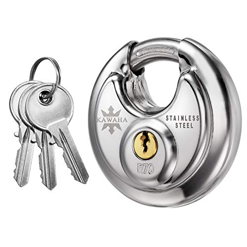 KAWAHA Keyed Padlock, Stainless Steel Discus Lock with 3/8-Inch Shackle for Sheds, Storage Unit, Garages and Fence