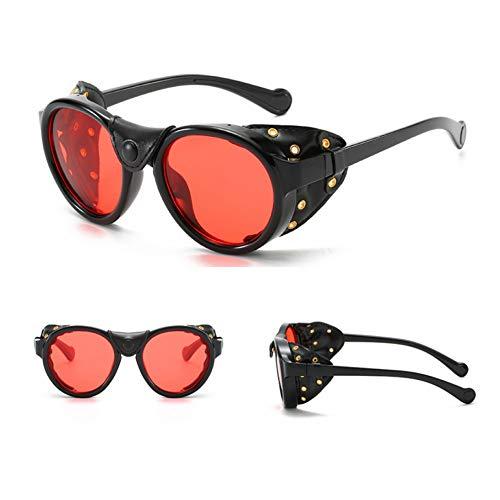SXRAI Gafas de Sol Redondas para Hombres Gafas de Sol Laterales con protección Lateral para Hombres Gafas de Sol Uv400,C3