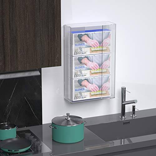 Femeli Glove Dispenser Wall Mount,Acrylic Glove Holder for Triple/3 Boxes of Disposable Rubber Latex Vinyl Glove, Clear