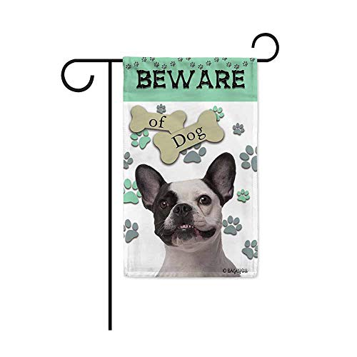 BAGEYOU Beware of Dog Frenchie Decorative Garden Flag Puppy Paws Bone Home Decor Yard Banner for Outside 12.5X18 Inch Printed Double Sided