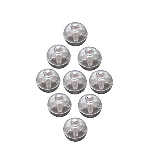 Toyvian LED Ballons Lichter Mini Runde Ballon Lampe Roly-Poly Ornament für Halloween Weihnachten Hochzeit Geburtstag Party Dekoration 100 STÜCKE (Weiß)