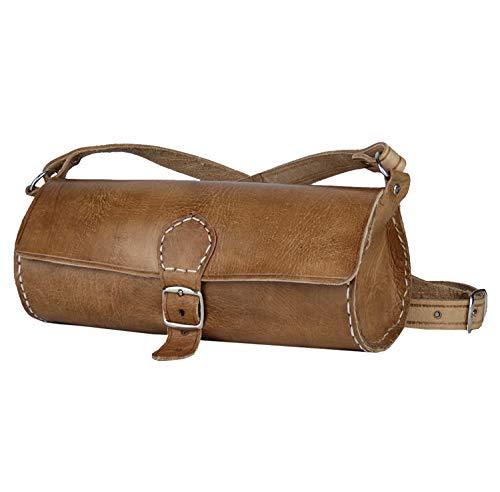 """Leder-Tasche """"Laffa"""" rund 24x10cm Hellbraun • marokkanische Umhängetasche • Handtasche 100% Handarbeit • Verstellbarer Schultergurt • 2 Fächer Lederhandtasche Tragetasche – Simandra"""