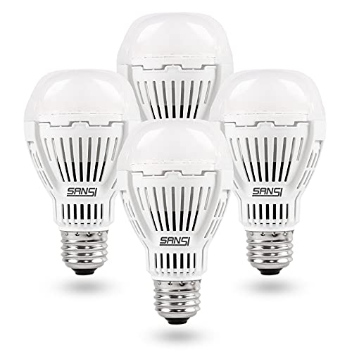 SANSI 100W Equivalent A19 LED Light Bulb, 4 Pack 1600 Lumens Light Bulb with Ceramic Technology, 3000K Daylight Non-Dimmable, 25,000-Hour Lifetime, Efficient, Safe, 13W Energy Saving for Home Lighting