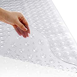 Yimobra Original Bath Tub Shower Mat Extra Long 16 x 40 Inches, Non-Slip with Drain Holes, Suction Cups, Machine Washable, Phthalate Free, Latex Free, BPA Free, Bathroom Mats, Clear