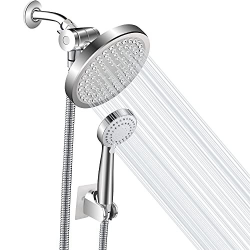 Woochy Shower Head, High Pressure Rainfall and Handheld Shower Head Combo with Replaceable Hoses and Brackets, 3 Mode Detachable Shower Head for Bath, ABS Material Chrome Plated